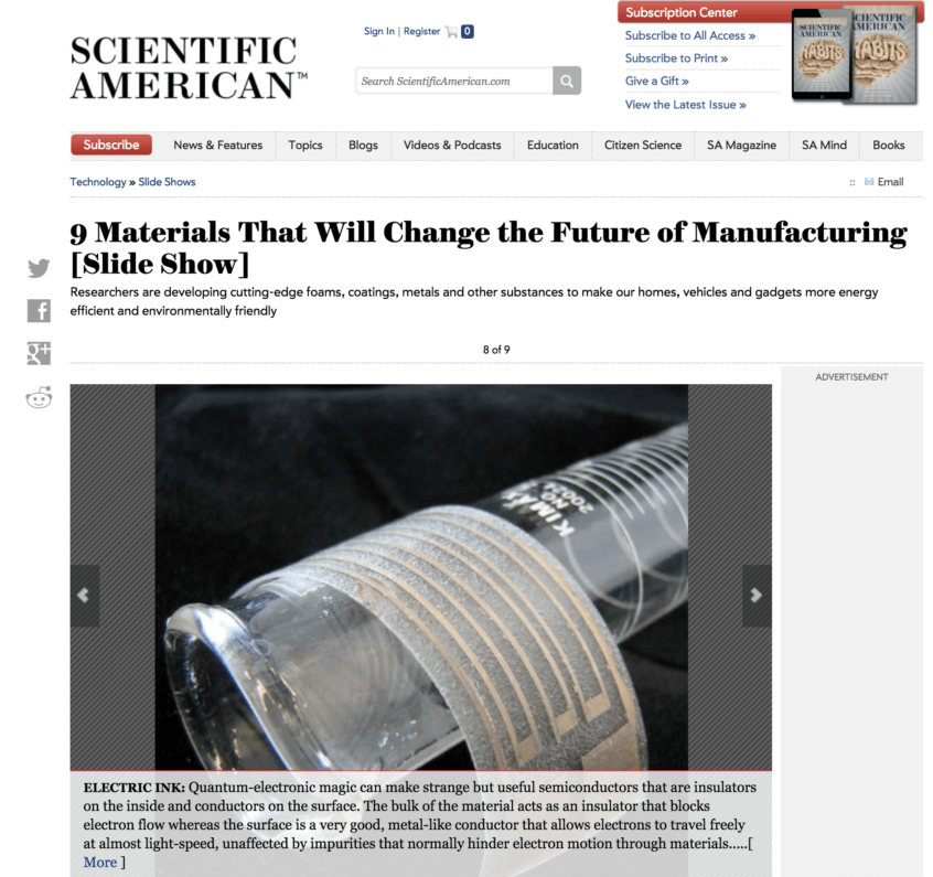 Screenshot of Scientific American article on materials that will change manufacturing
